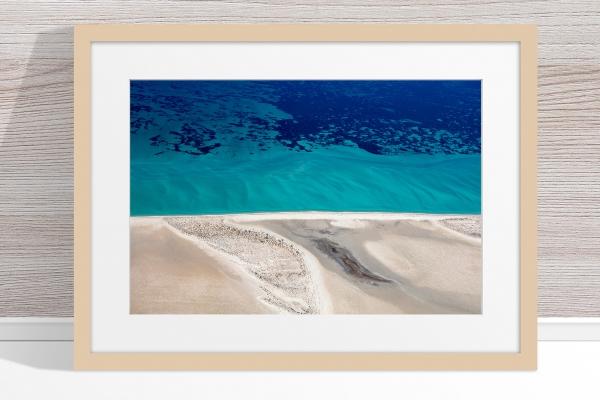 Jason Mazur - 'Shark Bay Aerial 124' Light Wood Frame