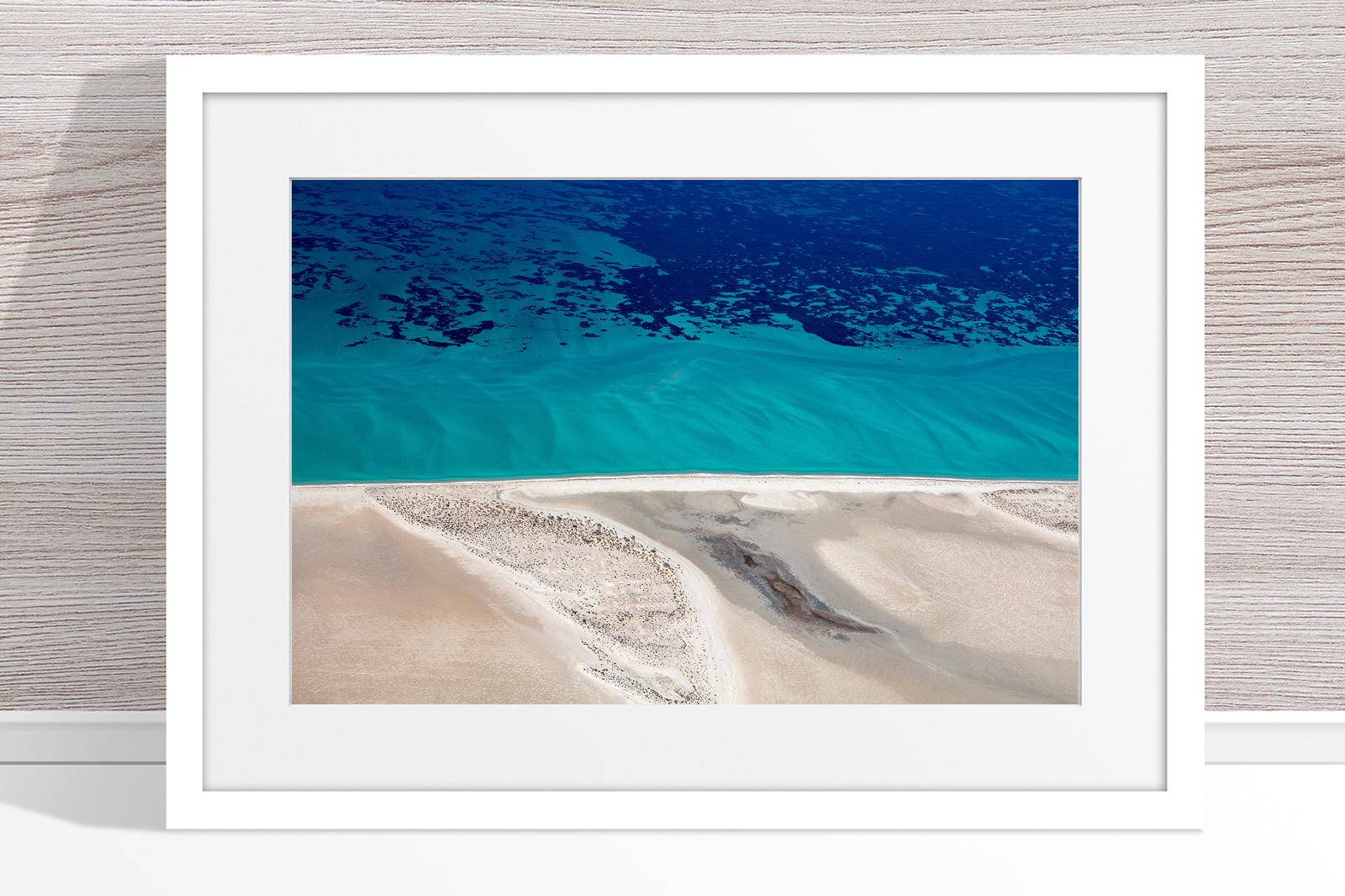 Jason Mazur - 'Shark Bay Aerial 124' White Frame