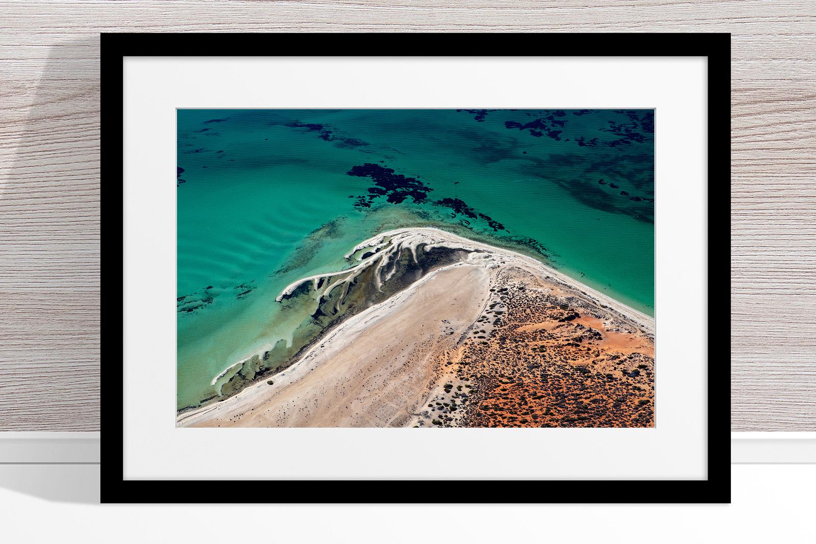 Jason Mazur - 'Shark Bay Aerial 171' Black Frame