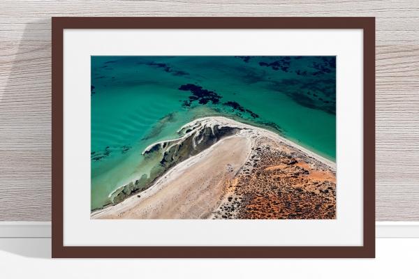 Jason Mazur - 'Shark Bay Aerial 171' Dark Wood Frame