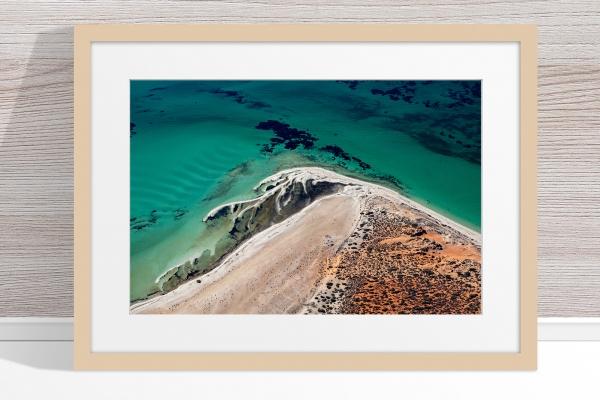 Jason Mazur - 'Shark Bay Aerial 171' Light Wood Frame