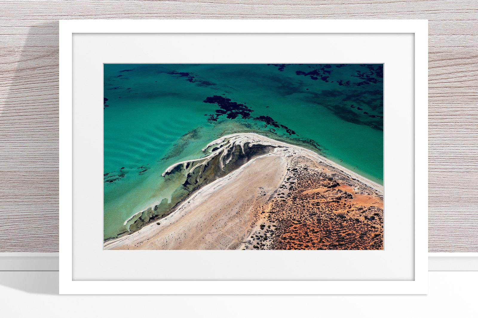 Jason Mazur - 'Shark Bay Aerial 171' White Frame