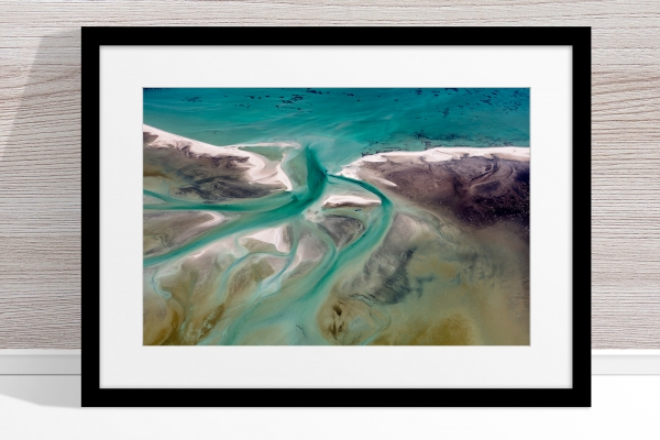 Jason Mazur - 'Shark Bay Aerial 191' Black Frame