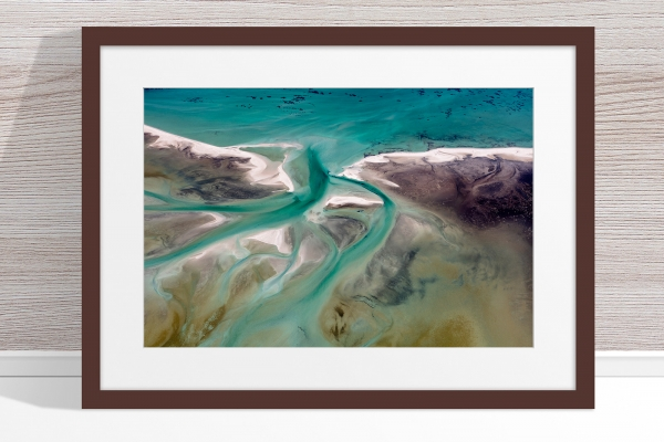 Jason Mazur - 'Shark Bay Aerial 191' Dark Wood Frame