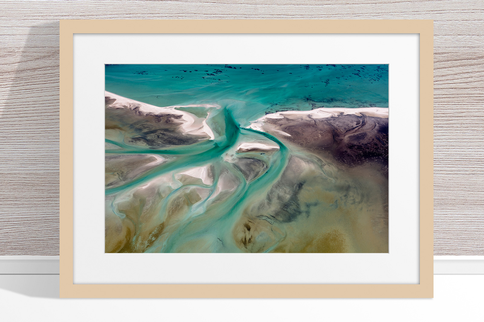 Jason Mazur - 'Shark Bay Aerial 191' Light Wood Frame