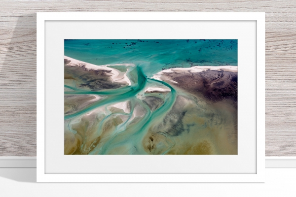 Jason Mazur - 'Shark Bay Aerial 191' White Frame