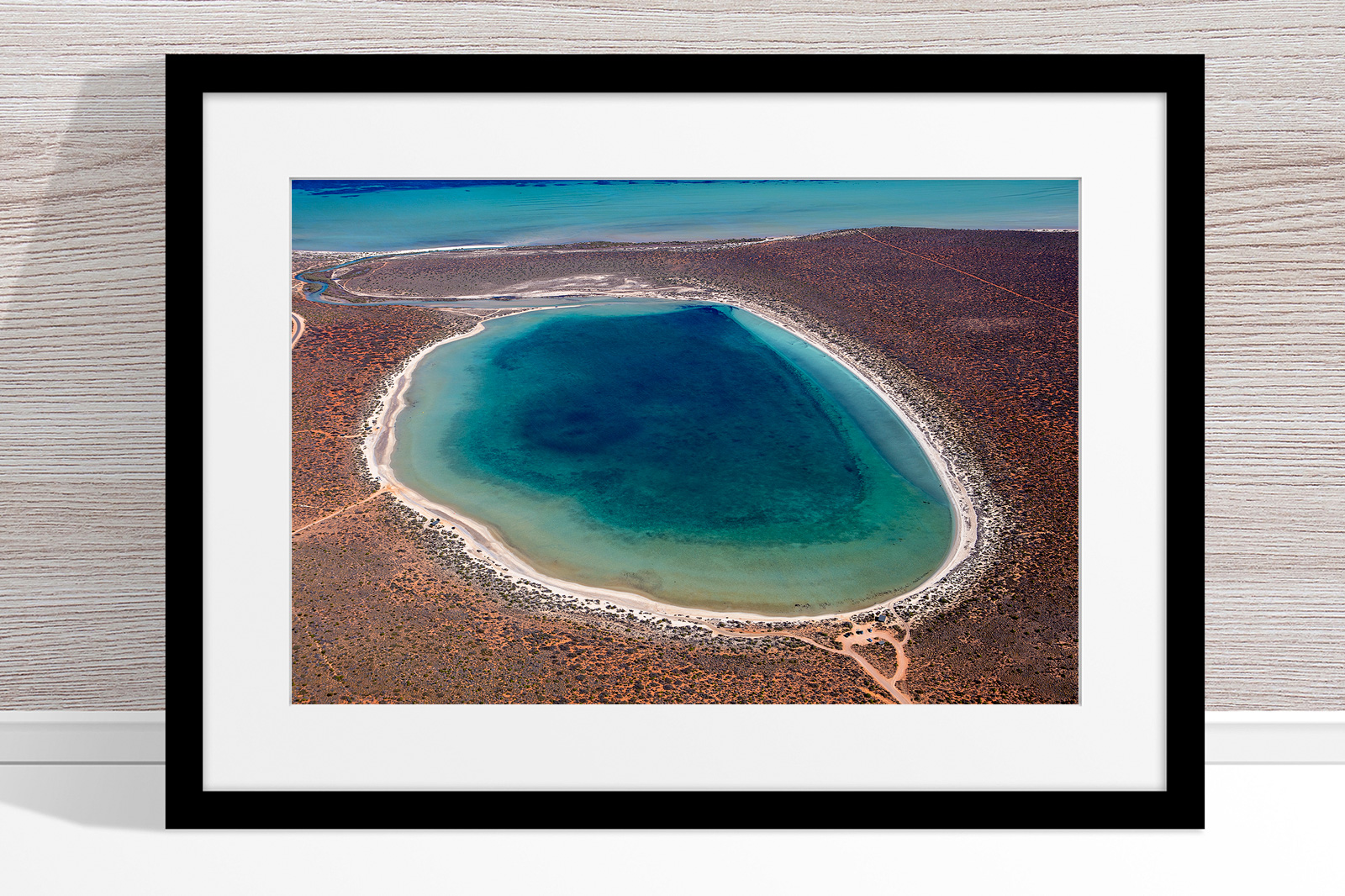 Jason Mazur - 'Little Lagoon, Shark Bay 303' Black Frame