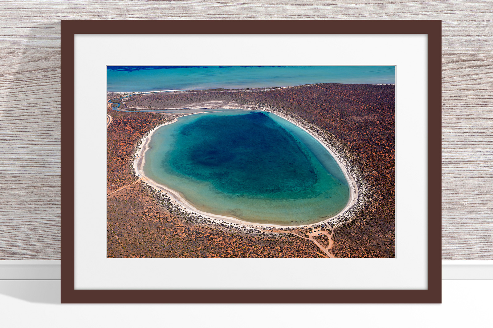 Jason Mazur - 'Little Lagoon, Shark Bay 303' Dark Wood Frame