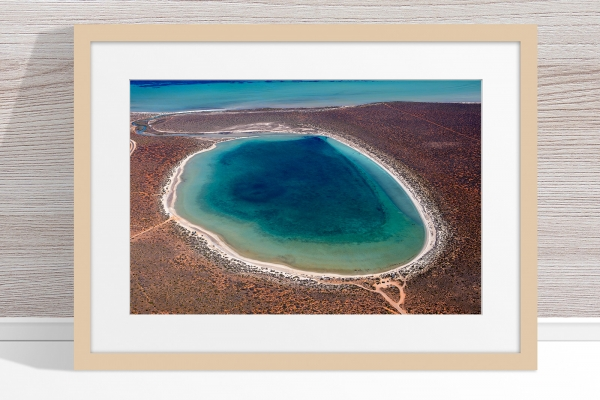 Jason Mazur - 'Little Lagoon, Shark Bay 303' Light Wood Frame