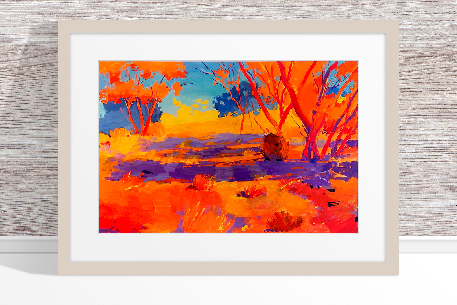 Marek Herburt - 'Walking Through the Bush in Andamooka' Framed