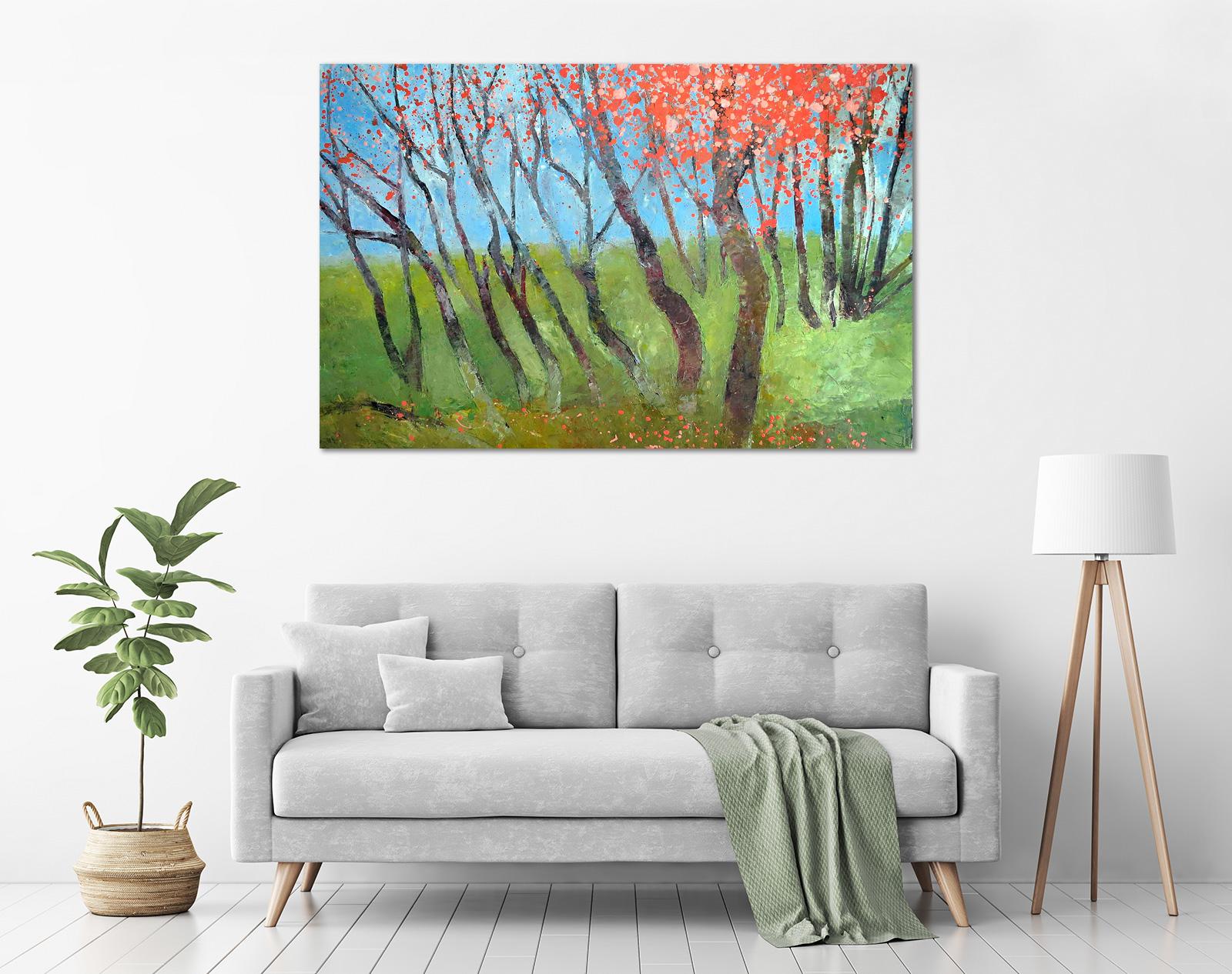 John Graham - 'Cherry Blossom Landscape' in a room