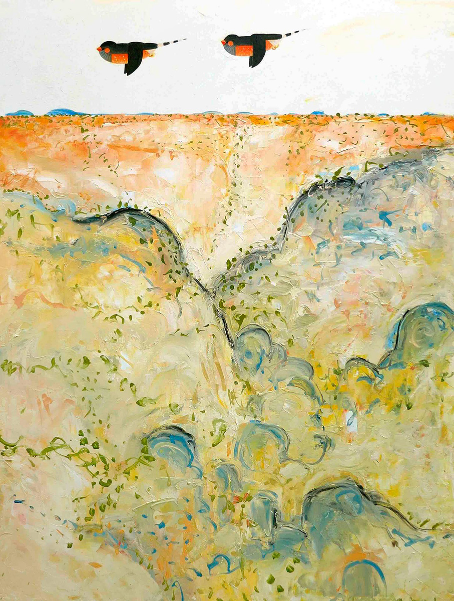 John Graham - 'Zebra Finch Over Arid Landscape'