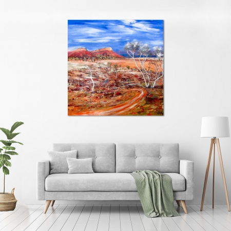 Carole Foster - 'Arid Land Near Coopers Creek' in a room