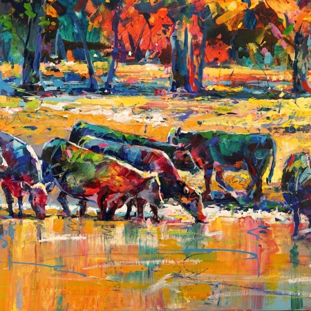 Cows-drinking-by-the-stream