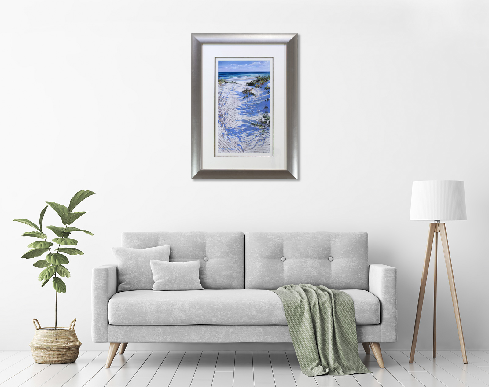 Coastal Tranquility Framed in a room