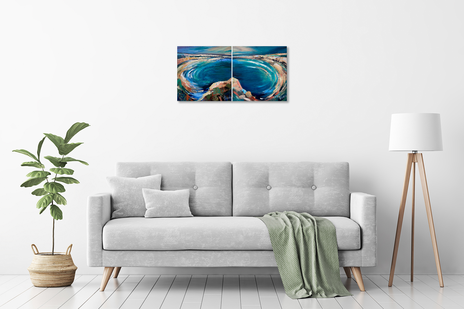 Seascape I and II Diptych in a room